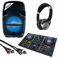 "Numark Party Mix DJ Controller + Party Box 8"" Active LED Lights Speaker Pack"