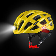 RockBros Yellow Cycling Safety Bike Helmet Size 49-59CM with USB Recharge Light