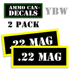 22 MAG Ammo Label Decals Box Stickers decals - 2 Pack BLYW