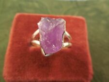Rough Amethyst sterling silver ring size 8 1/4