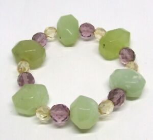 """6.5"""" Chunky Mossy Quartz Stretch Bracelet~Pale Green/Amber Glass Faceted Beads"""