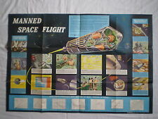 VINTAGE 1961 POSTER NASA MANNED SPACE FLIGHT PROTOTYPE VEHICLE GRAPHICS & DATA