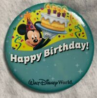 "Walt Disney World Disney Parks Happy Birthday Button New Mickey Mouse 3"" pin NEW"