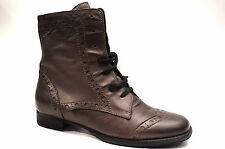 Donna Carolina Schuhe Leder Stiefeletten Gr. 37,5 Grau Braun Schnür Boots