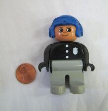 "LEGO DUPLO POLICEMAN CHIEF COP POLICE for MOTORCYCLE 2.5"" FIGURE BLUE HELMET #2"