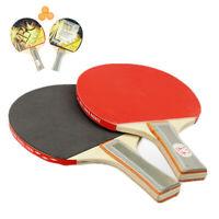 A Pair of Long Handle Table Tennis Bats Ping Pong Rackets w/ 3 Ping Pong Balls