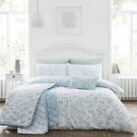 Cotton Rich Duck Egg Blue Duvet Cover Set Hip Sprig in King Bed Size Reversible
