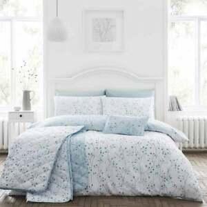 Cotton Rich Duck Egg Blue Duvet Cover Set Hip Sprig in King Bed Size Reversible