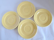 4 Saucers Bauer Pottery Los Angeles La Linda Yellow Dishes Arts & Crafts RETRO