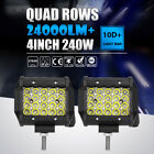 "Quad Row 4""INCH 240W LED WORK LIGHT BAR OFFROAD SPOT DRIVING LAMP ATV 4X4WD BOAT"
