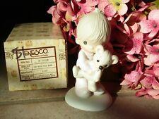 "Precious Moments 1982 E-1372/B Figurine ""Jesus Loves Me"" Boy w Teddy Bear w/Box"