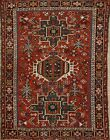 Antique Geometric Traditional Area Rug Hand-Knotted Wool Red Kitchen Carpet 3x4