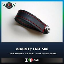 ABARTH/ FIAT 500 Trunk Handle / Pull Strap - Black Leather/ Red Stitch