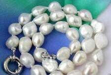 """100% natural huge 12-10mm WHITE Baroque FRESHWATER PEARL NECKLACE 18"""" AAA"""