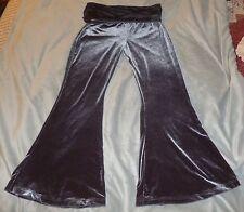 DOLLIMORE Sz M Shiny GRAY STRETCH PANTS w/ Flare Bottoms & Adjustable Rise Waist