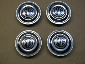 """MG Midget """"Rostyle"""" Wheel Center Caps with Emblems 1970-1980 (set of 4)"""