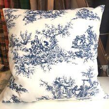 Handmade 100% Cotton Cushion Cover BLUE TOILE DE JOUY. Various sizes