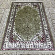 Yilong 4'x6' Green Handknotted Silk Carpet Antistatic Home Decor Rug H310B