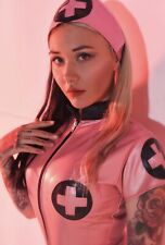 Misfitz pink latex Nurse dress 2 way zip. sizes 8-32/made to measure TV CD Goth