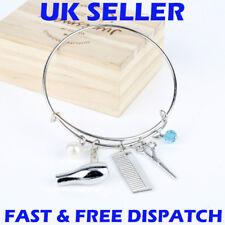 Hairdressing Bracelet Adjustable Bangle Charms Hairdresser Gift Silver Scissors