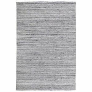 Handmade Gray Indoor/Outdoor Area Rug, Solid Pattern Thin Pile Reversible