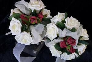 2 IVORY & BURGUNDY FOAM ROSE BOUQUETS 270mm with organza bow bride flowergirl