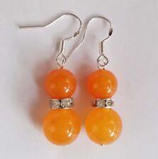 8mm&12mm orange south amazon topaz Beads Silver Hook Dangle Earrings PE1214