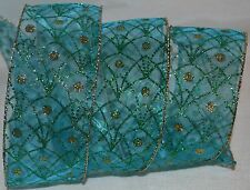 """Wired Ribbon~Sheer Aqua Blue~Sparkle Peacock Feather~Gold~Holiday~2.5""""~Gift~Bow"""