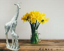 47 Cm Silver Large Giraffe Mother Baby Sculpture Ornament Figurine Statue Animal