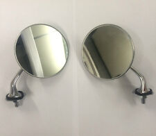Pair of Round Chrome Wing Mirrors Classic and Vintage Cars Convex Glass NEW