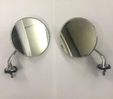 COPPIA di Specchietti Retrovisori Esterni Cromato Rotondo Classico E AUTO D'EPOCA VETRO CONVESSO NUOVO