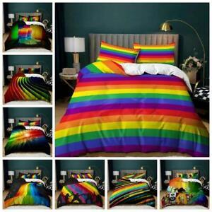 LGBT Rainbow Bedding Set Quilt Duvet Cover Pillowcase Single Double King Size UK