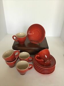 Le Creuset Espresso Cup Set for 6 with Saucers Cherry Red
