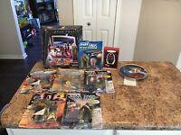 Lot Of 6 Star Trek Action Figures USS Enterprise Bridge Picard Ornament & Plate