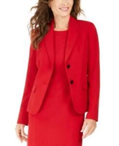 MSRP $99 Kasper Petite Notched-Lapel Blazer Red Size 2P