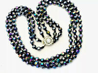 Vintage Triple String CARNIVAL PEACOCK Aurora Borealis Glass Bead  Necklace