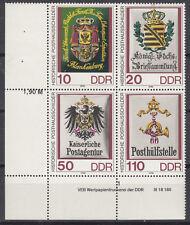 DDR 1990 Viererblock MiNr: 3306-3309 Eckrand Teil-Druckvermerk postfrisch