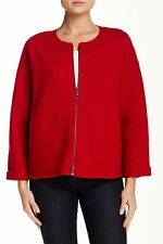 NWT EILEEN FISHER LAQUER RED BOILED WOOL ROUND NECK ZIP JACKET COAT LARGE L R358