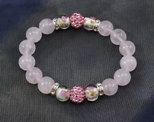 Exclusive 10mm Light Pink Rose Quartz Shamballa Beaded Elastic Bracelet 18