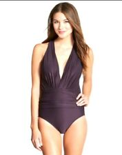 Badgley Mischka Womens One Piece Swimsuit Size 8 Brown Dip Back V-Plunge