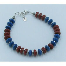 .925 Sterling Silver Natural Grade A Blue Lapis Italian Red Coral Bracelet