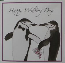 Handmade Personalised Wedding Card 2 Penguins Bow Tie Flowers Lovely Words