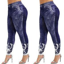 Plus Size Women's Leggings Jeans Look High Waist Stretch Dark Denim Look Pants