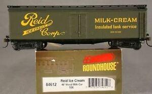 Roundhouse 84612 HO Scale Reid Ice Cream 40' Wood Milk Car #106 LN/Box