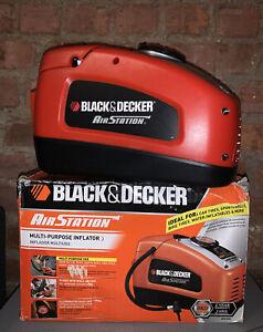 Black & Decker AS1300 Air Station 120 or 12 Volt Inflator Pump Auto Shut Off EUC
