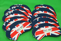 10 Golf Mad Neoprene Golf Iron Head Covers Union Jack Flag Iron Headcovers