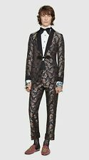 GUCCI S/S 17 Navy Seahorse Silk Paisley Jacquard Shawl Dinner 2-Pc Suit 38R
