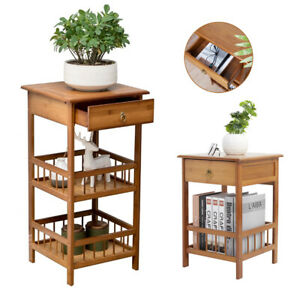 Plant Side Table Telephone Nightstand Bamboo End Table W/ Drawer Storage Shelf
