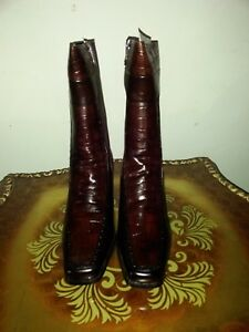 extravagant winter boots with natural fur, leather, brown, size 7.5-8