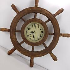 "Vintage 18"" Wooden Ship Wheel Marina Porthole Vintage Clock Nautical Wall Clock"